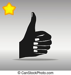 thumb up black Icon button logo symbol