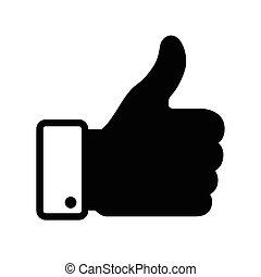 thumb up black icon, vector illustration