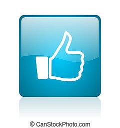 thumb up blue square web glossy icon