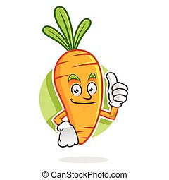 Thumb up Carrot mascot, Carrot character, Carrot cartoon