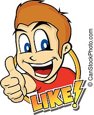 thumb up cartoon character