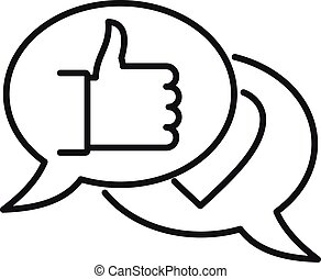 Thumb up chat icon, outline style