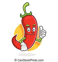 Thumb up chili pepper mascot, chili pepper character, chili pepper cartoon