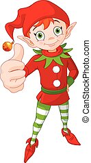 Illustration of cute Christmas elf doing a thumb up and smiling