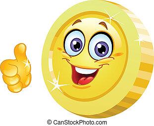 Thumb up coin