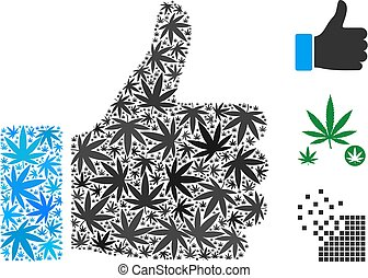 Thumb Up Collage of Weed Leaves