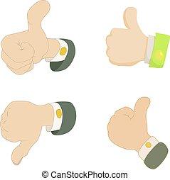 Thumb up, down icon set, cartoon style