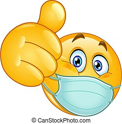 thumb up emoticon with medical mask - Emoji emoticon with ...