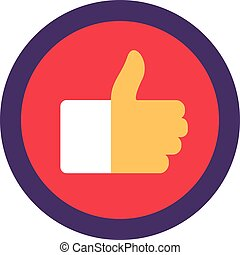 Thumb Up Flat Icon, Like It Sign Vector