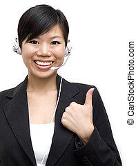 Friendly Customer Representative - Thumb up Friendly...