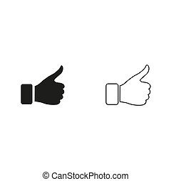 thumb up gesture - green vector icon