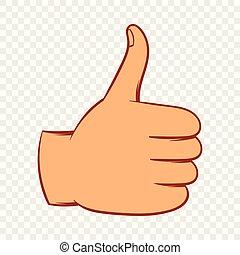 Thumb up gesture icon, cartoon style