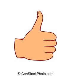 Thumb up gesture icon, cartoon style