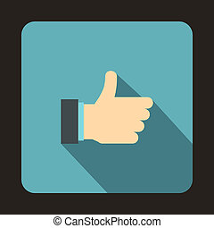Thumb up gesture icon, flat style