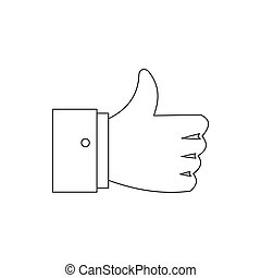 Thumb up gesture icon, outline style