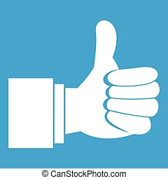 Thumb up gesture icon white