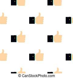 Thumb up gesture pattern flat