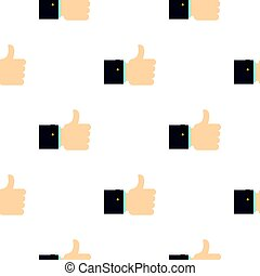 Thumb up gesture pattern flat