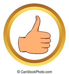 Thumb up gesture vector icon, cartoon style