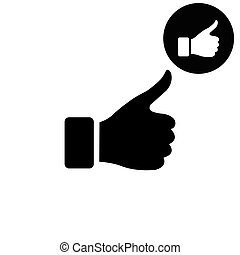 thumb up gesture  - white vector icon