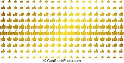 Thumb Up Golden Halftone Grid