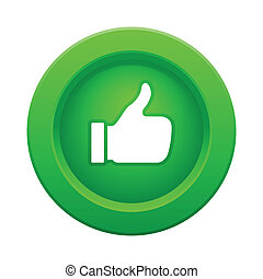 thumb up green button, vector illustration
