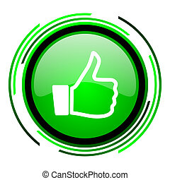 thumb up green circle glossy icon