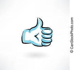 thumb up grunge icon