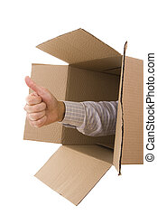 Thumb Up - Hand doing thumb up gesture inside a cardboard...