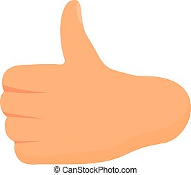Thumb up hand gesture icon, cartoon style