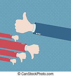 Thumb up hand win