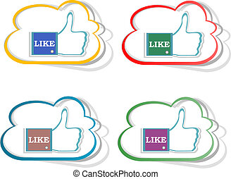 Thumb up hand with word like stickers set. Vector