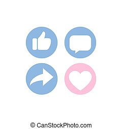 Thumb up, heart icon, comment share social network icon set and long shadow