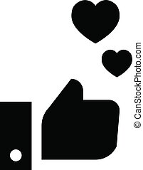 Thumb up heart icon, simple style