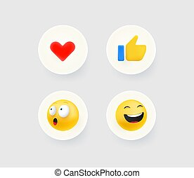 Thumb up, heart, laugh and shock reaction buttons. Useful for web and mobile applicatiions