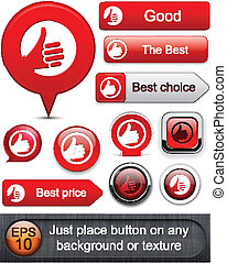 Thumb up high-detailed modern buttons. - Thumb up red web...