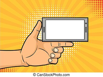 Thumb up holding a smartphone with empty screen