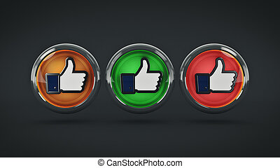 thumb up, i like it glossy icon. 3d rendering