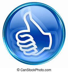 thumb up icon blue, approval Hand Gesture, isolated on white...