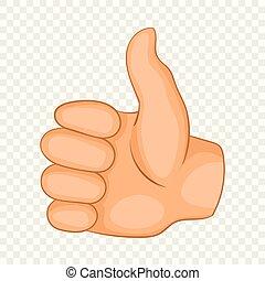Thumb up icon, cartoon style