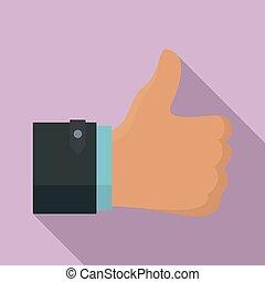 Thumb up icon, flat style