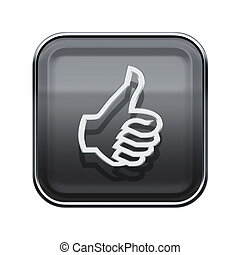 thumb up icon glossy grey, isolated on white background