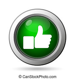 Thumb up icon. Internet button on white background
