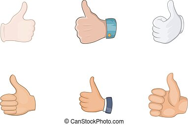 Thumb up icon set, cartoon style