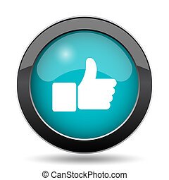 Thumb up icon. Thumb up website button on white background.