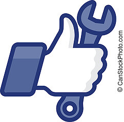 Thumb Up icon with wrench, vector Eps8 image - Like/Thumb Up...