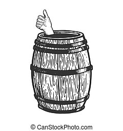 Thumb up in wine barrel engraving vector