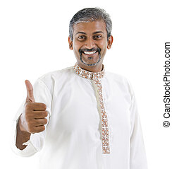 Thumb up Indian man - Excited thumb up Indian man in...