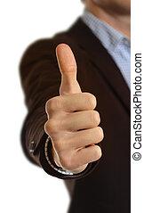 Thumb up, isolated on white background