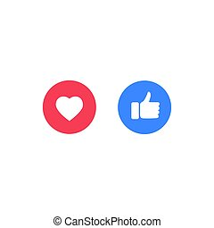 Thumb up Like and Love icons, vector illustration
